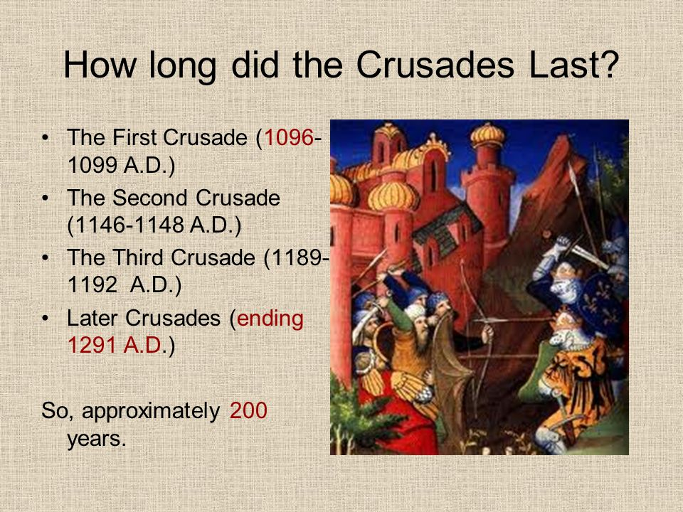 how long were the crusades