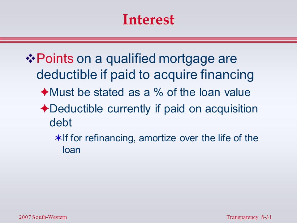 31 Transparency 8 2007 South Western Interest VPoints On A Qualified Mortgage Are Deductible
