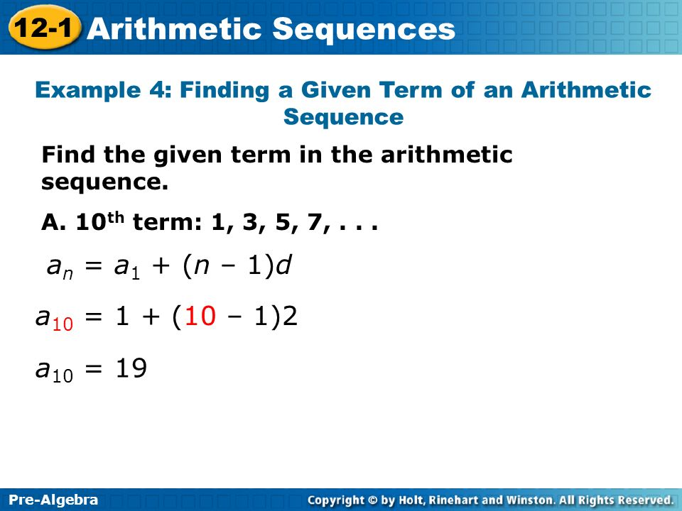 Pre-Algebra 12-1 Arithmetic Sequences Learn to find terms in an ...