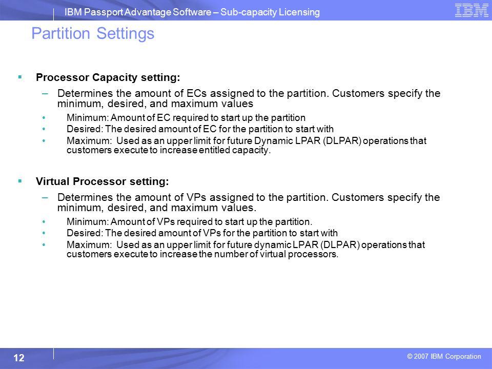 IBM Passport Advantage Software Sub-capacity License