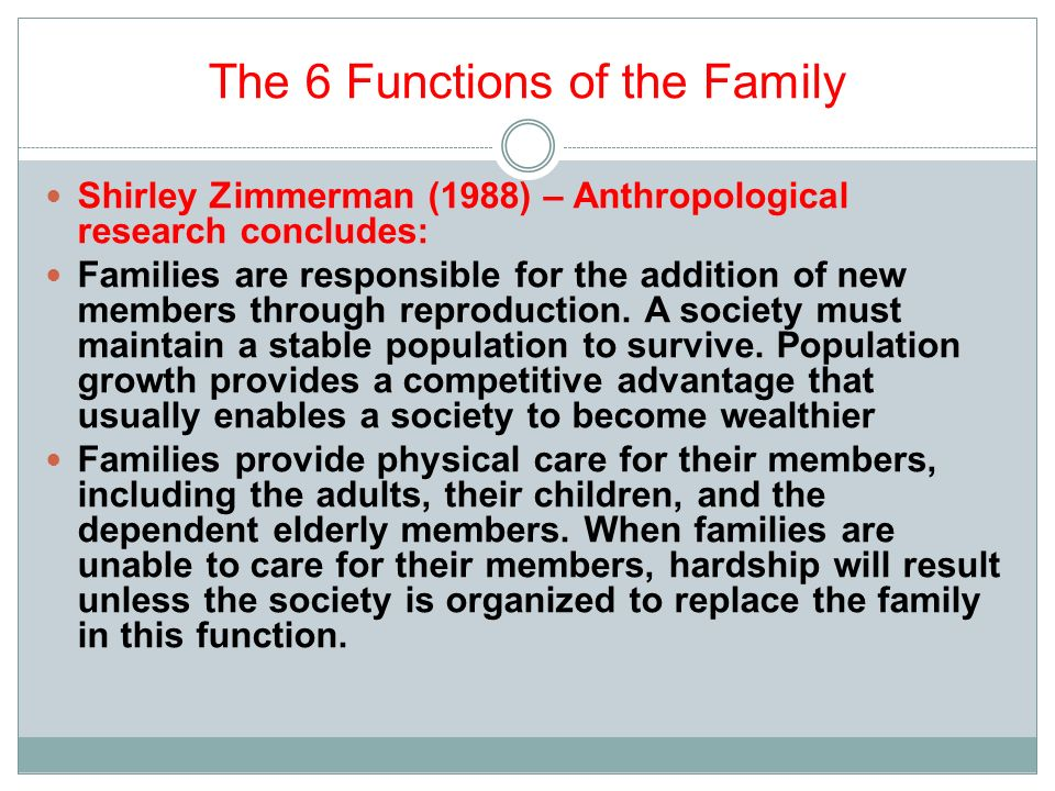 6 functions of the family