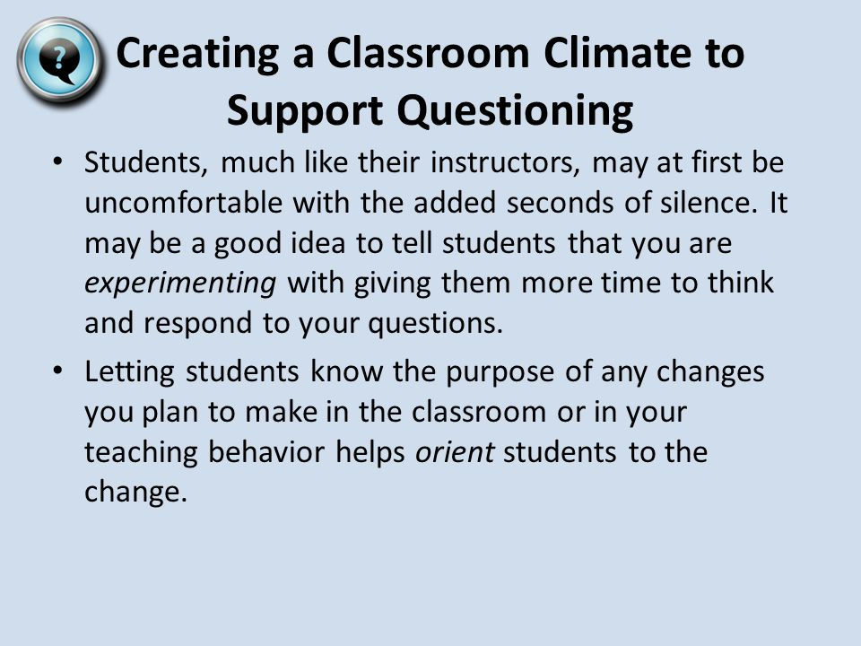 Classroom Strategies That Work  Questions, Cues, and Advance