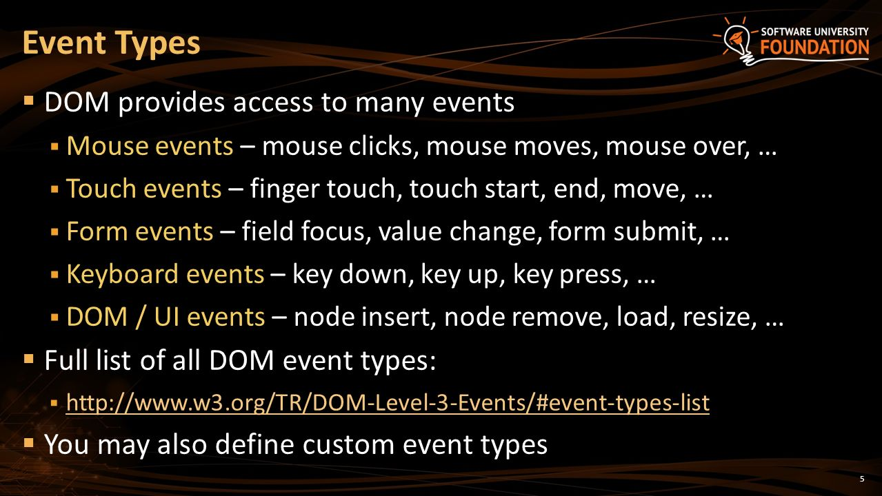 Events Event Handling in JavaScript SoftUni Team Technical