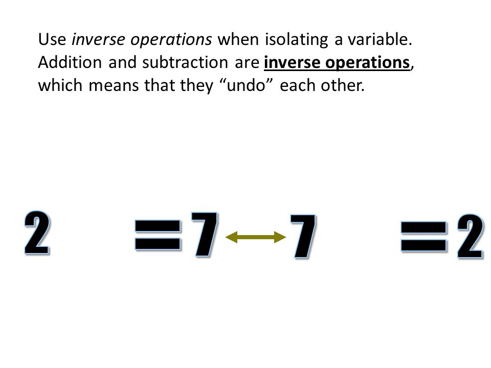 Use inverse operations when isolating a variable.