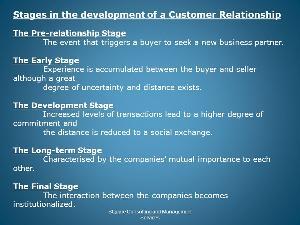 Customer Relationship Management  SQuare Consulting and Management