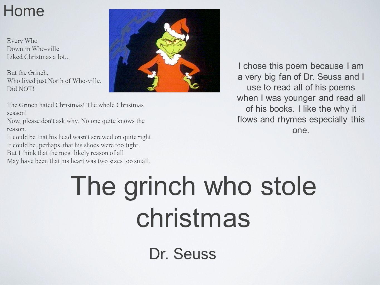 Dr Seuss The Grinch Who Stole Christmas Poem.Poetry Connor Stephens How The Grinch Stole Christmas Haiku