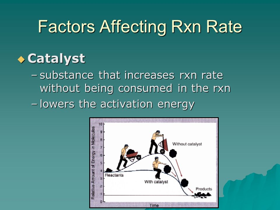 Factors Affecting Rxn Rate  Catalyst –substance that increases rxn rate without being consumed in the rxn –lowers the activation energy