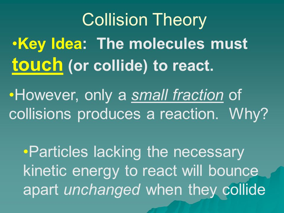 Collision Theory Key Idea: The molecules must touch (or collide) to react.