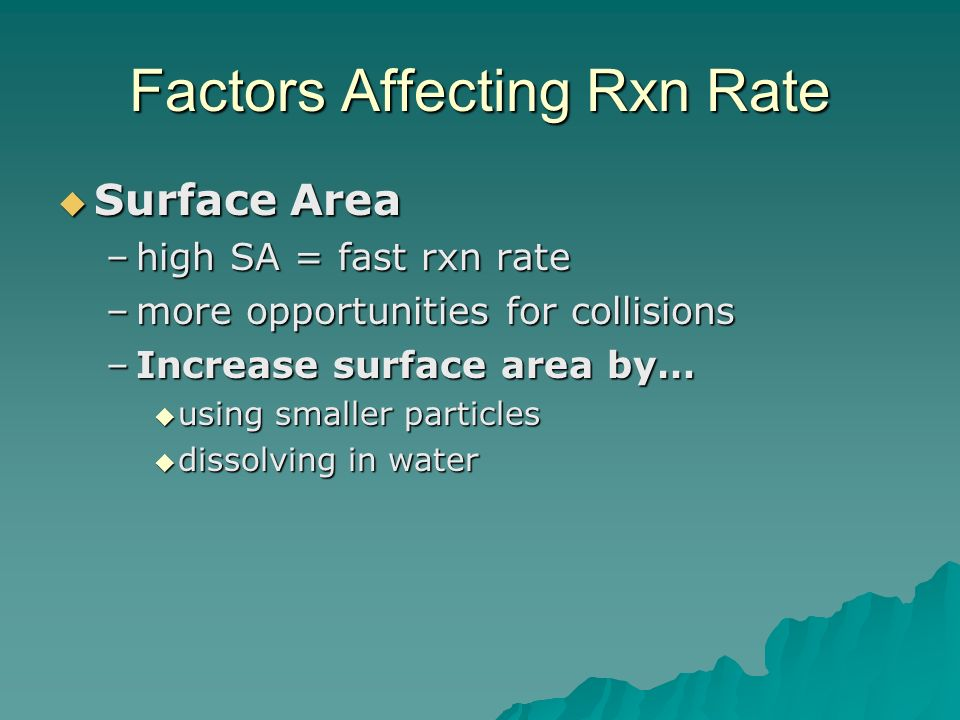 Factors Affecting Rxn Rate  Surface Area –high SA = fast rxn rate –more opportunities for collisions –Increase surface area by…  using smaller particles  dissolving in water