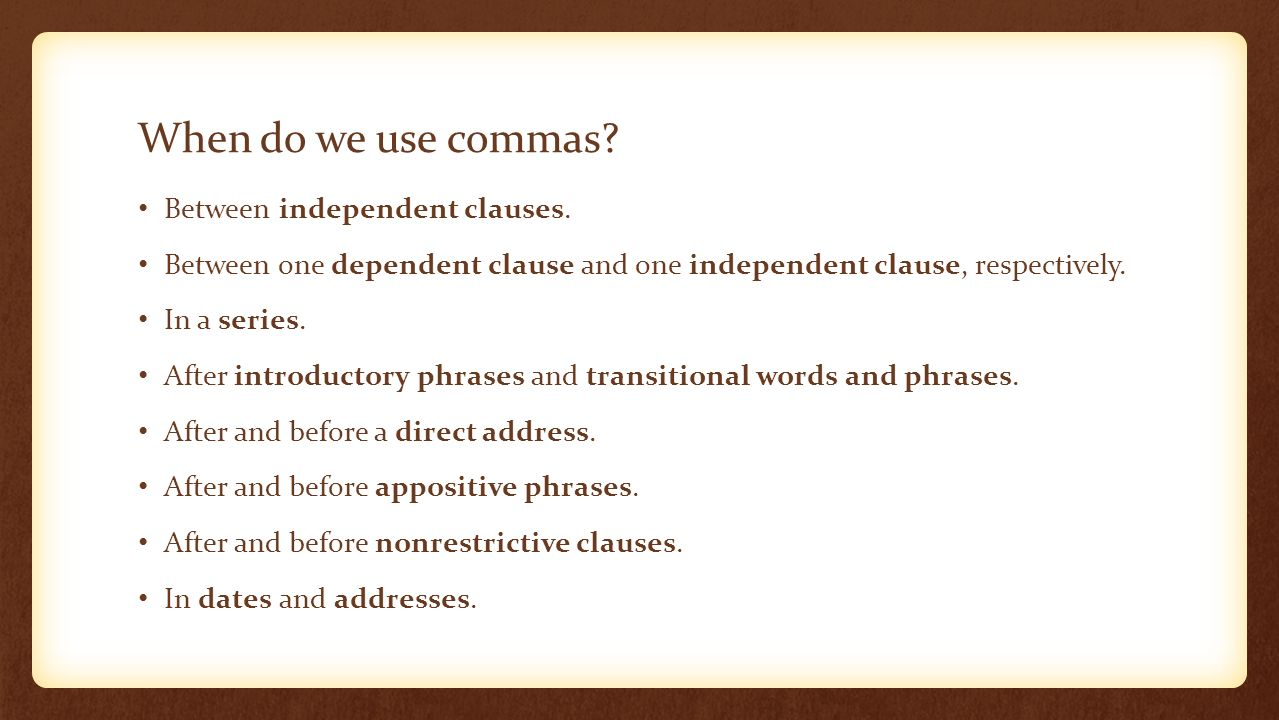 commas in addresses in sentences
