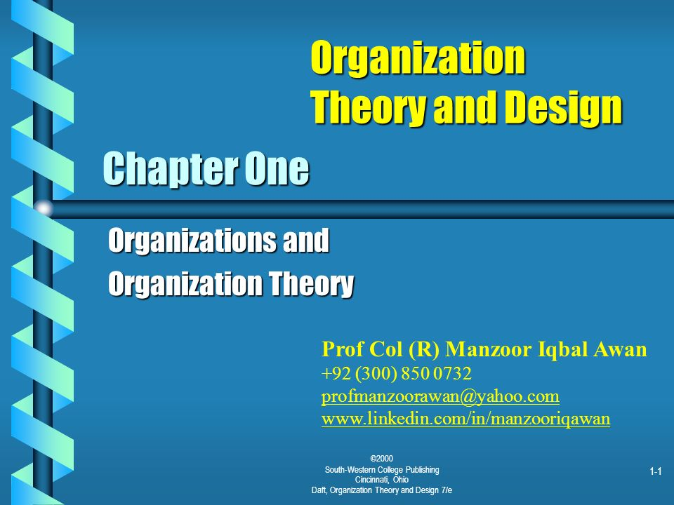 1 1 C 2000 South Western College Publishing Cincinnati Ohio Daft Organization Theory And Design 7 E Chapter One Organizations And Organization Theory Ppt Download