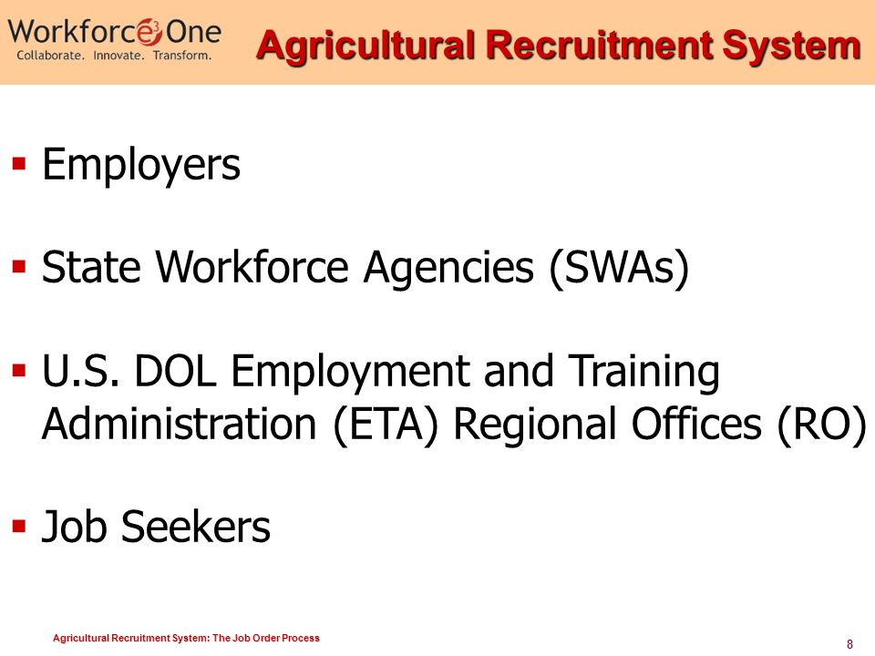 Agricultural Recruitment System: The Job Order Process Agricultural