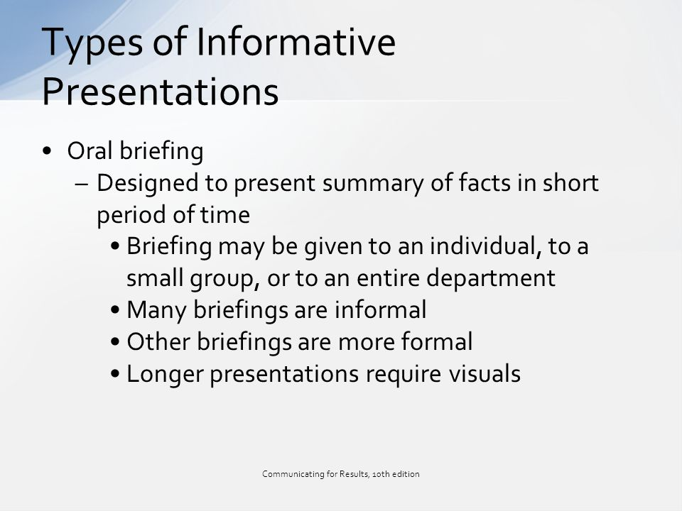 Informative Presentations Plan Research Organize And Deliver Chapter 11 Communicating For Results 10th Edition Ppt Download