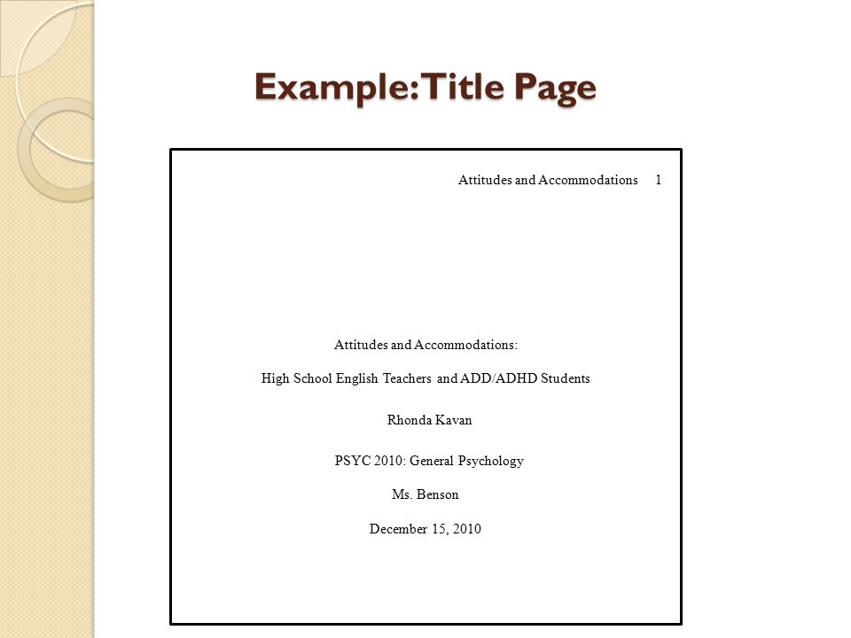 example title page attitudes and accommodations 1 attitudes and accommodations high school english teachers