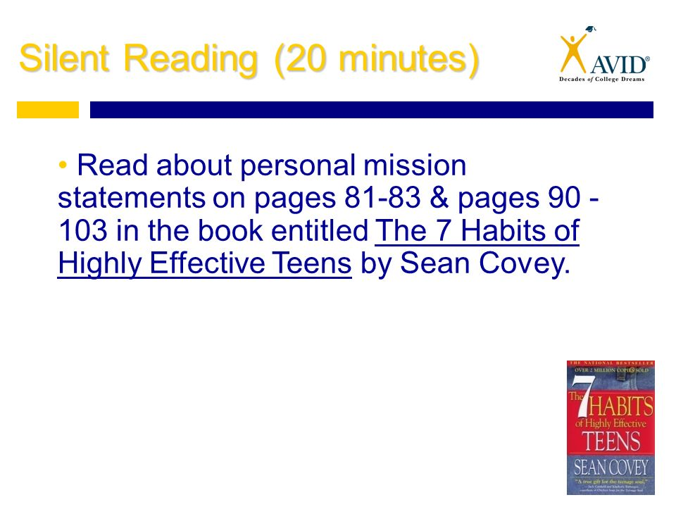3 silent reading 20 minutes read about personal mission statements