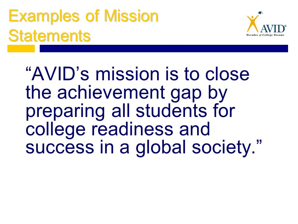 Writing A Mission Statement Avid Standard 13 Refine Personal And