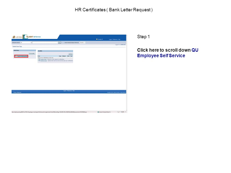 HR Certificates ( Bank Letter Request )  Step 1 Click here to scroll
