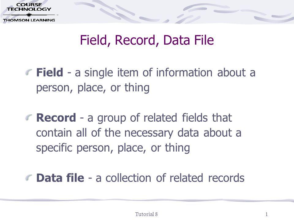 Tutorial 81 Field, Record, Data File Field - a single item