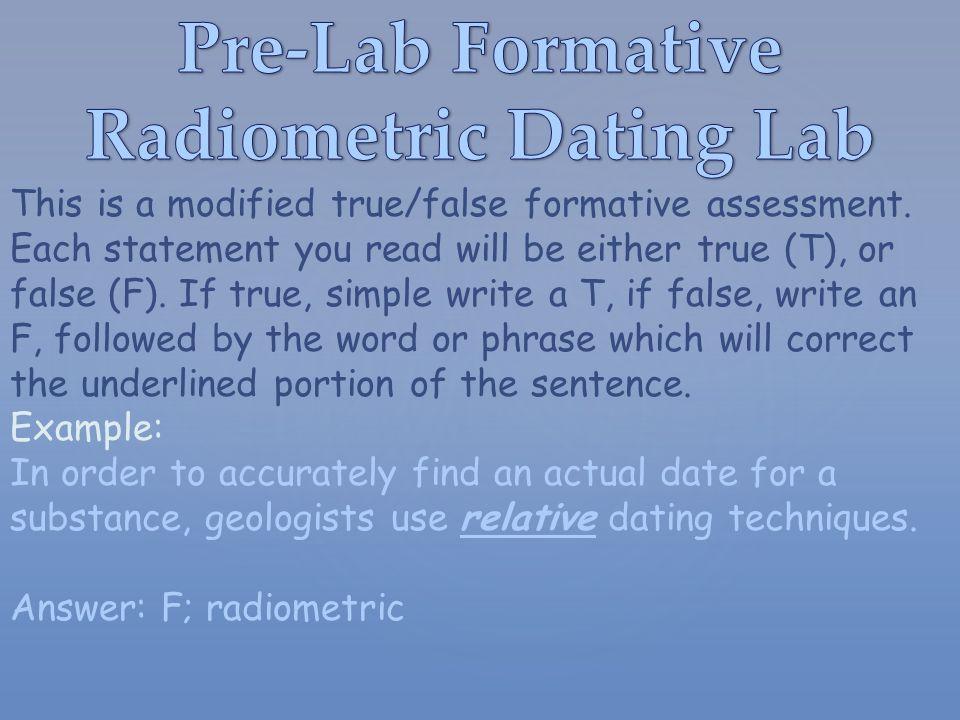 Radioactive dating example sentence