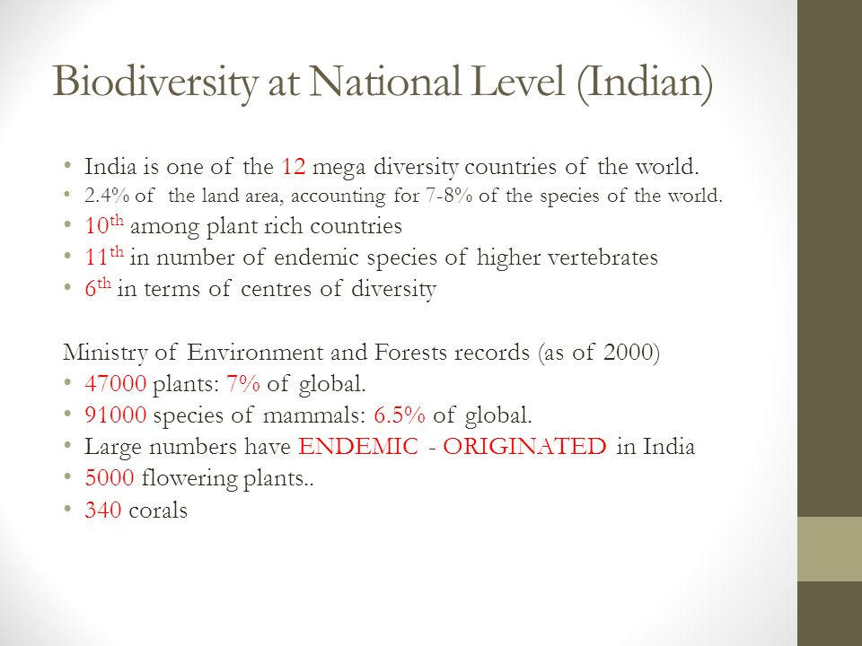 Biodiversity at National Level (Indian) India is one of the 12 mega diversity countries of the world.