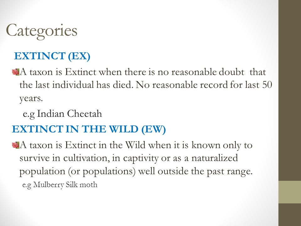 Categories EXTINCT (EX) A taxon is Extinct when there is no reasonable doubt that the last individual has died.