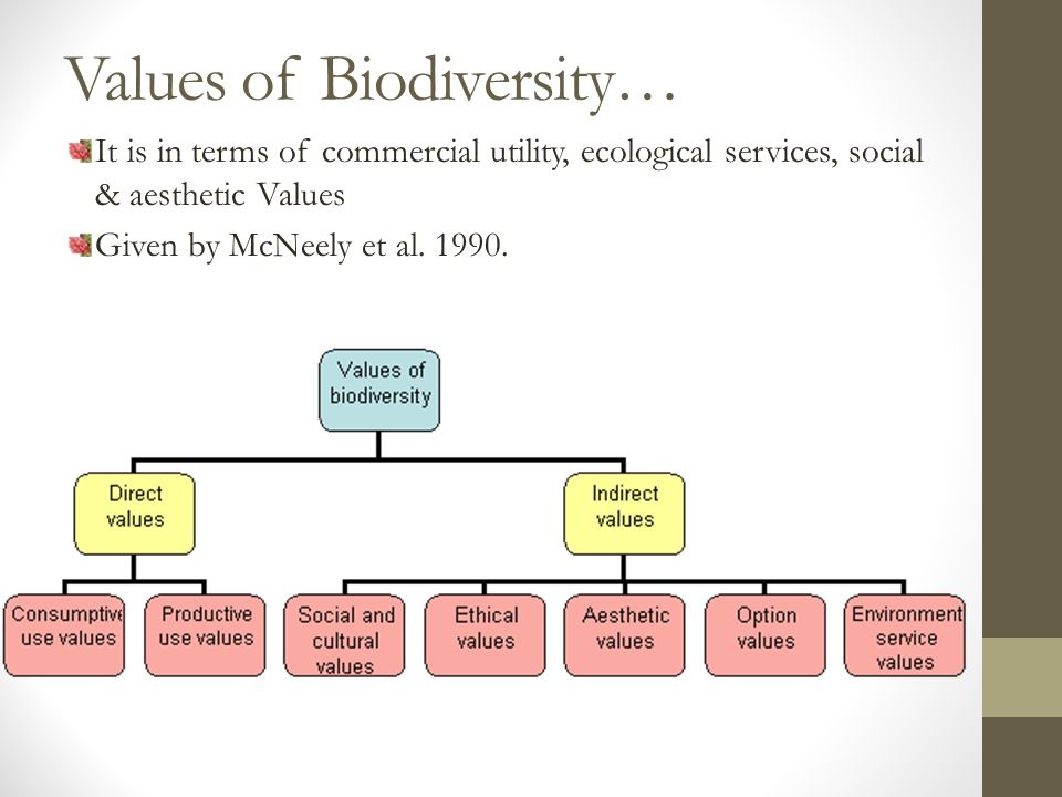 Values of Biodiversity… It is in terms of commercial utility, ecological services, social & aesthetic Values Given by McNeely et al.