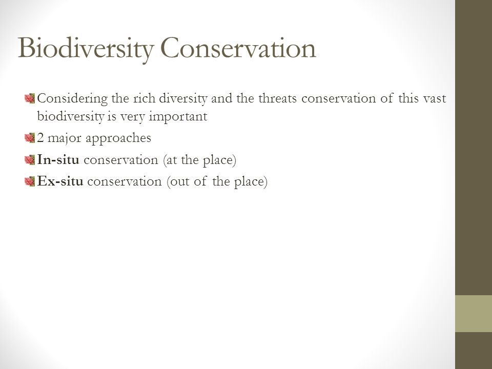 Biodiversity Conservation Considering the rich diversity and the threats conservation of this vast biodiversity is very important 2 major approaches In-situ conservation (at the place) Ex-situ conservation (out of the place)