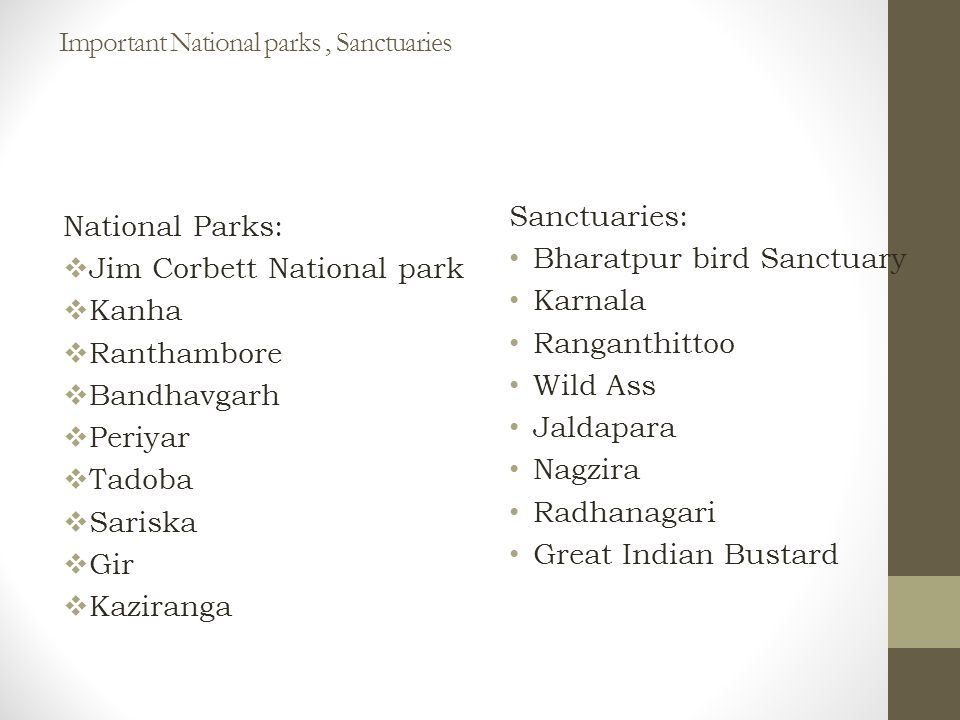 Important National parks, Sanctuaries Sanctuaries: Bharatpur bird Sanctuary Karnala Ranganthittoo Wild Ass Jaldapara Nagzira Radhanagari Great Indian Bustard National Parks:  Jim Corbett National park  Kanha  Ranthambore  Bandhavgarh  Periyar  Tadoba  Sariska  Gir  Kaziranga