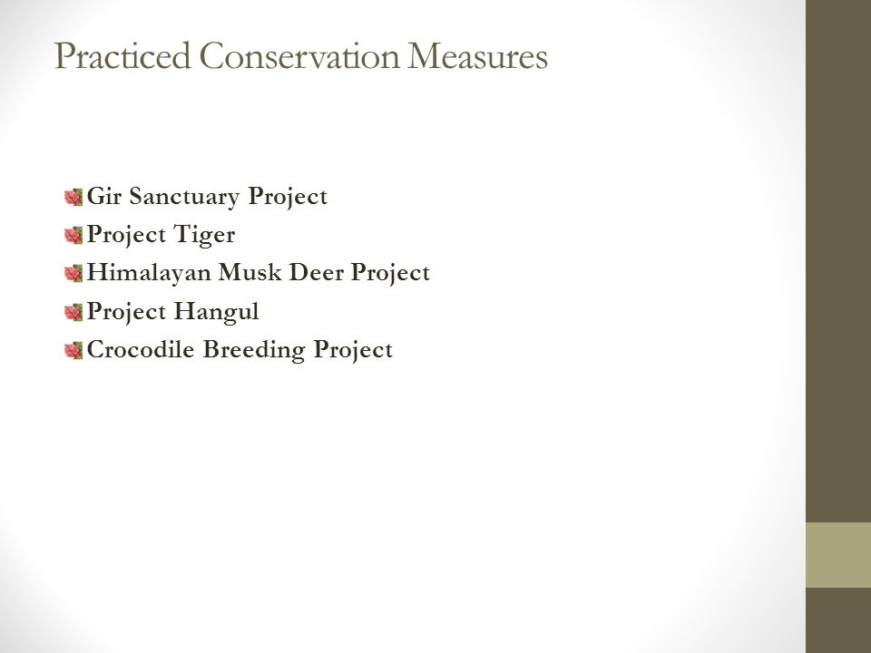 Practiced Conservation Measures Gir Sanctuary Project Project Tiger Himalayan Musk Deer Project Project Hangul Crocodile Breeding Project