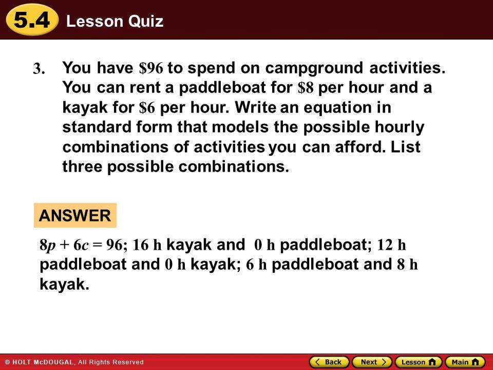 54 Warm Up Warm Up Lesson Quiz Lesson Quiz Lesson Presentation