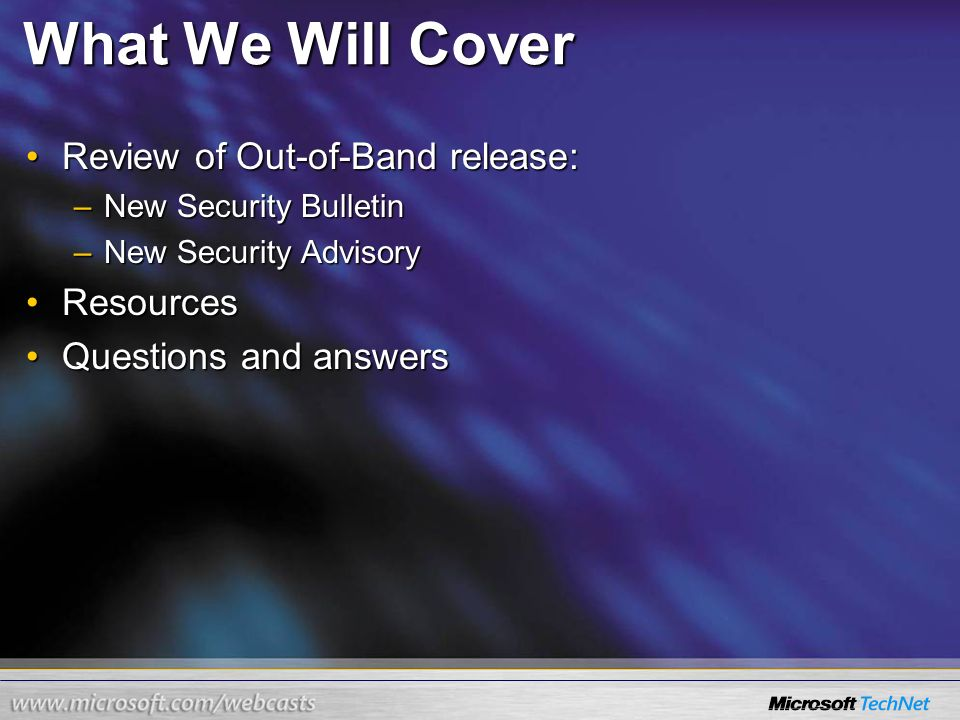 information about microsoft out of band security bulletins ppt