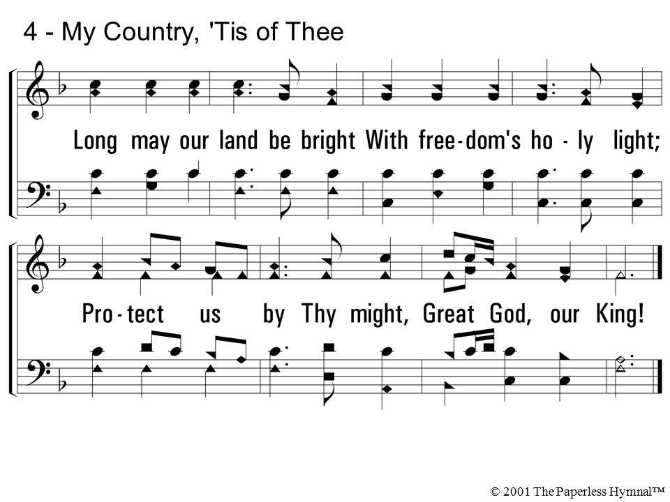 Lyric my country tis of thee lyrics : 1. My country 'tis of thee, Sweet land of liberty, Of thee I sing ...