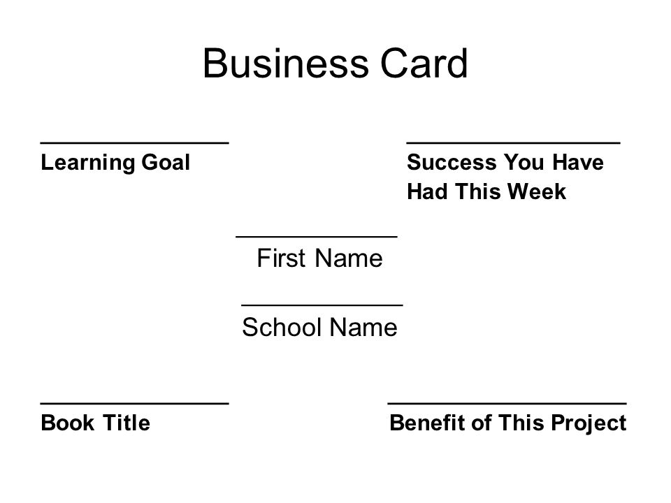 Book report presentation template the following slides are for your 3 business card reheart Images
