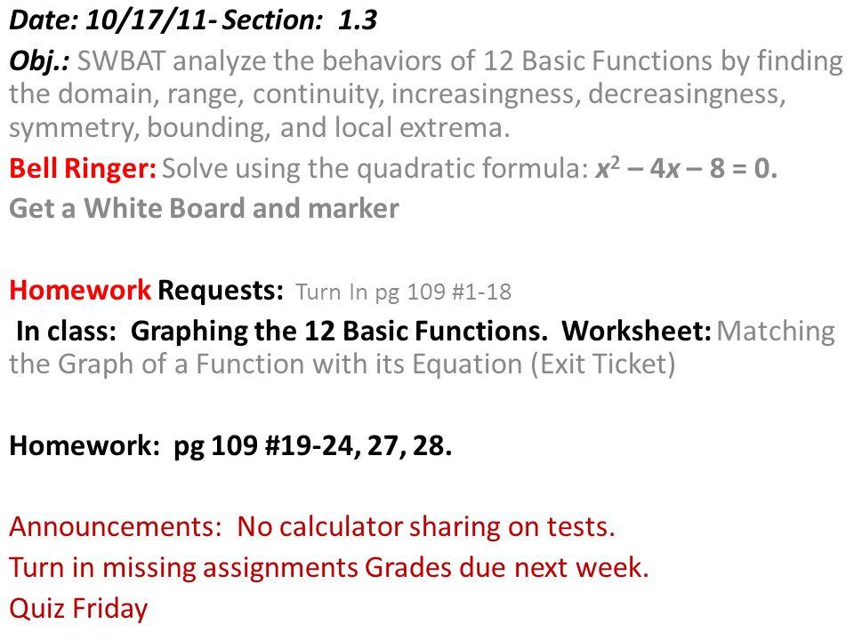 Date 101711 Section 13 Obj Swbat Analyze The Behaviors Of 12. Worksheet. Domain Range And End Behavior 1 1 Worksheet At Clickcart.co