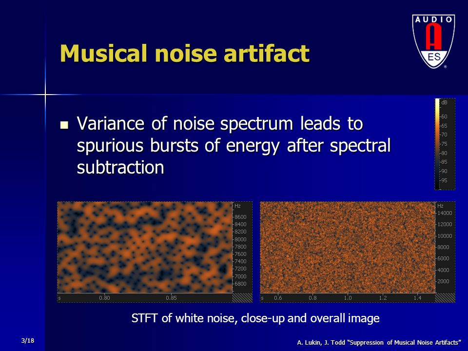 Suppression of Musical Noise Artifacts in Audio Noise