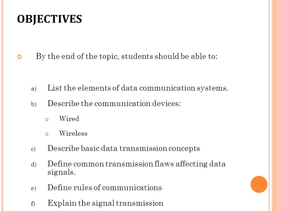 TOPIC 1 2 INTRODUCTION TO NETWORKING  OBJECTIVES By the end