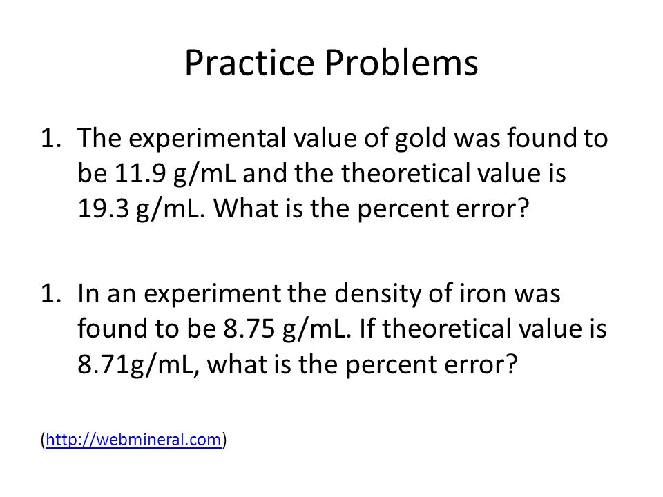 Percent Difference Calculations How Do Experimentally Determined