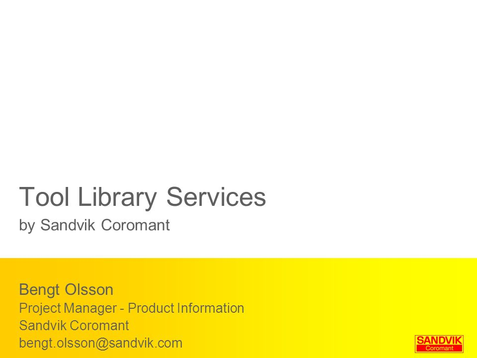Tool Library Services by Sandvik Coromant Bengt Olsson