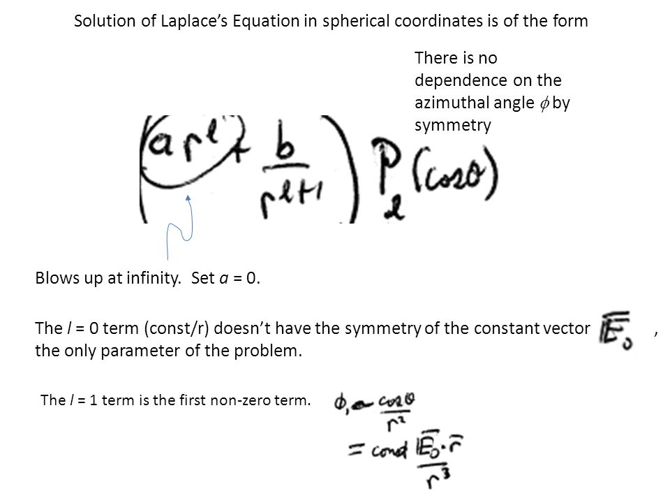 Solution of Laplace's Equation in spherical coordinates is of the form Blows up at infinity.