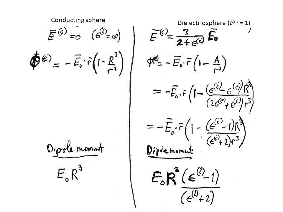 Conducting sphere Dielectric sphere (  (e) = 1)