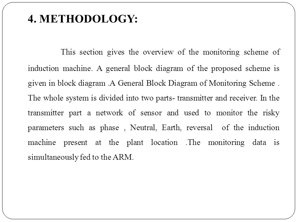 4. METHODOLOGY: This section gives the overview of the monitoring scheme of induction machine.