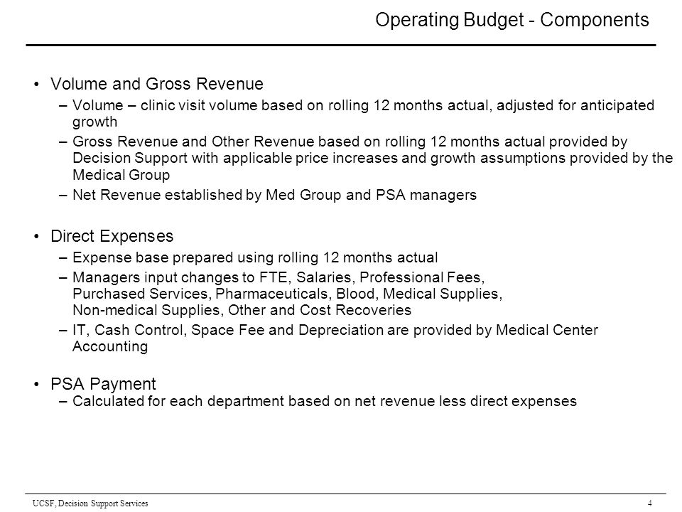 UCSF, Decision Support Services 1 FY08 PSA Budget Overview