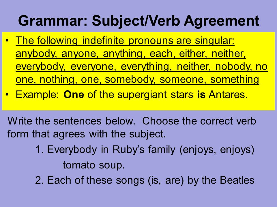 Grammar Subjectverb Agreement The Following Indefinite Pronouns