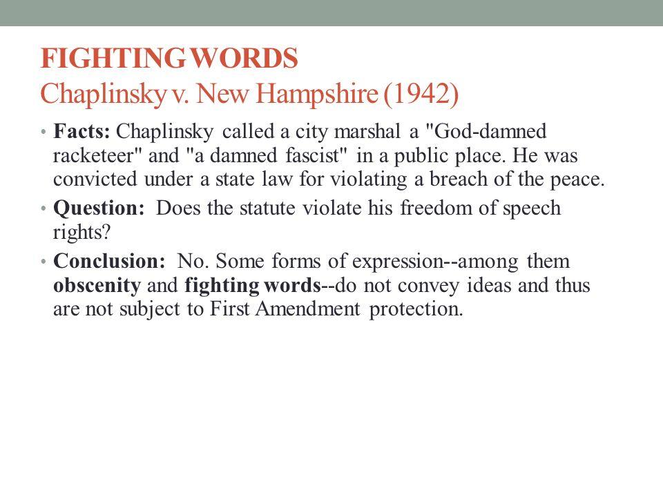 CHAPLINSKY V NEW HAMPSHIRE PDF