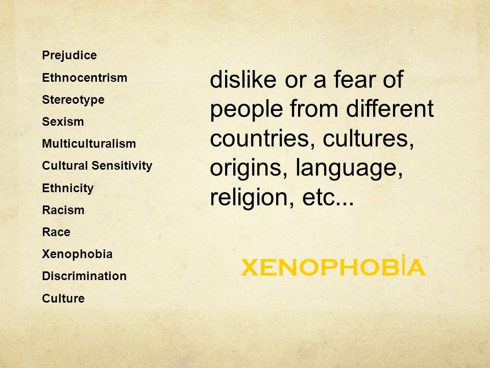 17 prejudice ethnocentrism stereotype sexism multiculturalism cultural sensitivity ethnicity racism race xenophobia discrimination culture xenophob a