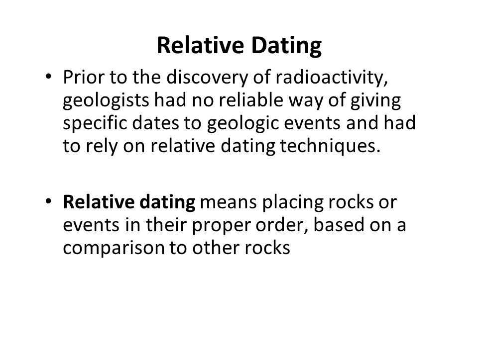 what is the definition of relative dating in biology