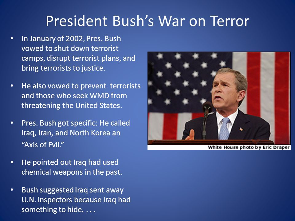 Image result for president warns terrorists during his state of the union message in 2002