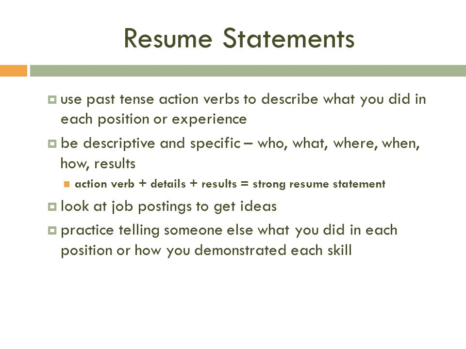What Tense To Use In Resume.Building Your Resume For Health Fitness Majors Strommen