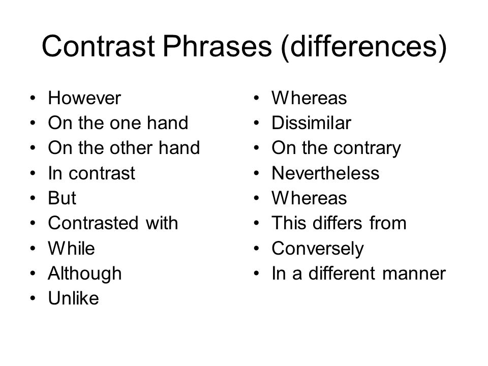 42df38e49b 2 Contrast Phrases (differences) However On the one hand On the other hand  In contrast But Contrasted with While Although Unlike Whereas Dissimilar On  the ...