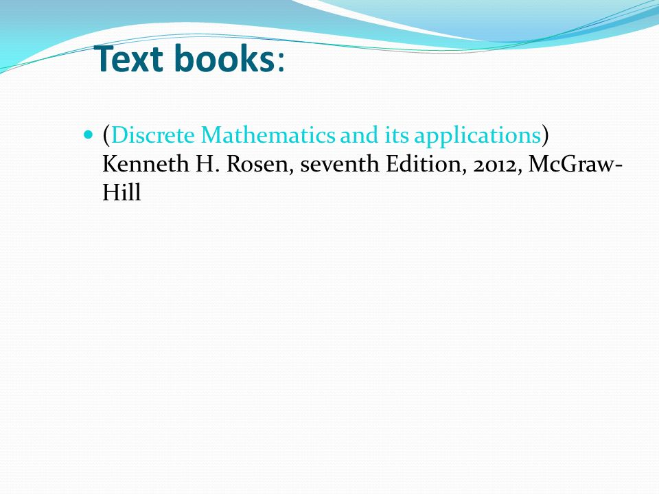 رياضيات متقطعة لعلوم الحاسب Math 226 Text Books Discrete